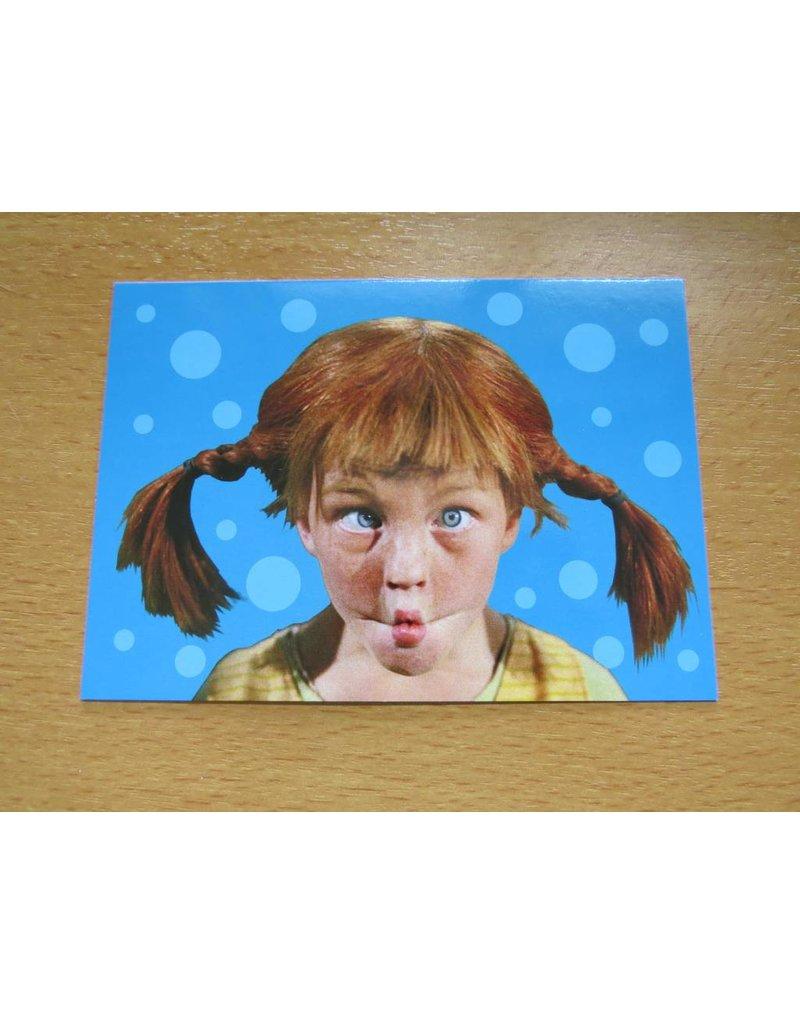 Pippi Langkous Pippi Longstocking card - Face (blue)