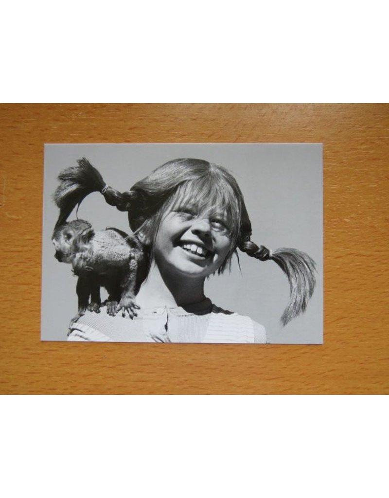 Pippi Langkous Pippi Longstocking card b/w - Mister Nilsson
