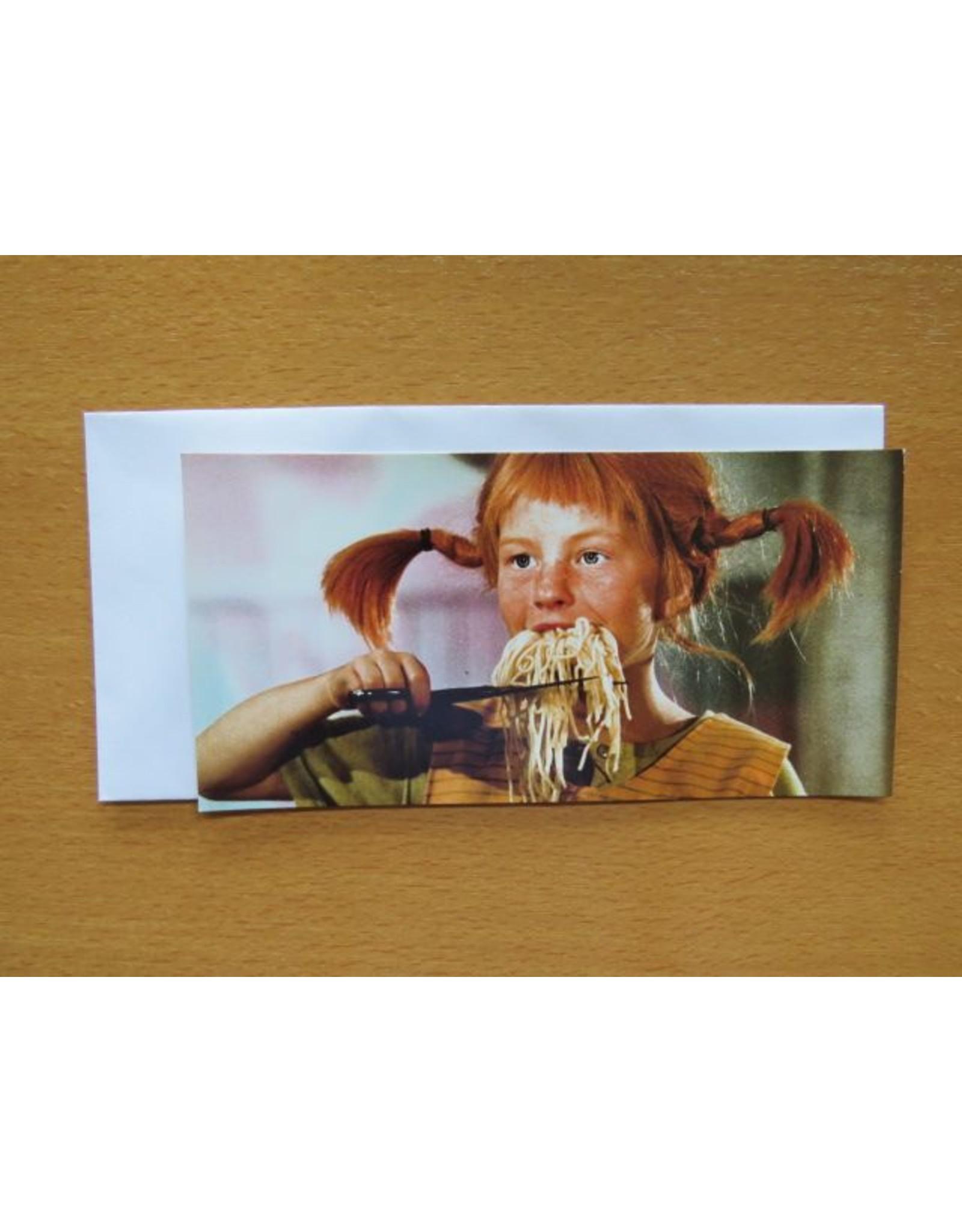 Pippi Langkous Pippi Longstocking card - Eating spaghetti