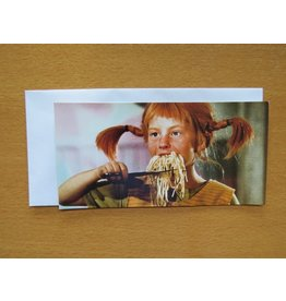 Pippi Langkous Pippi Longstocking card - Eating spaghetti
