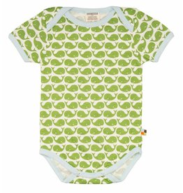 loud+proud Romper - shortsleeve - green whales