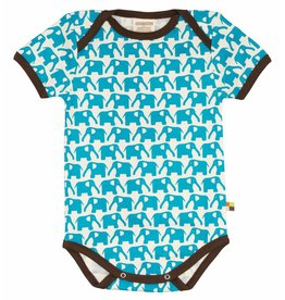 loud+proud Romper - shortsleeve - blue elephants