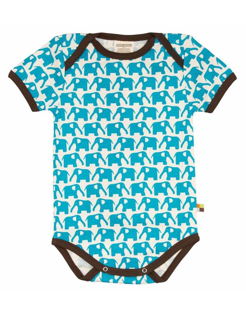 loud+proud Romper - shortsleeve - blue elephants