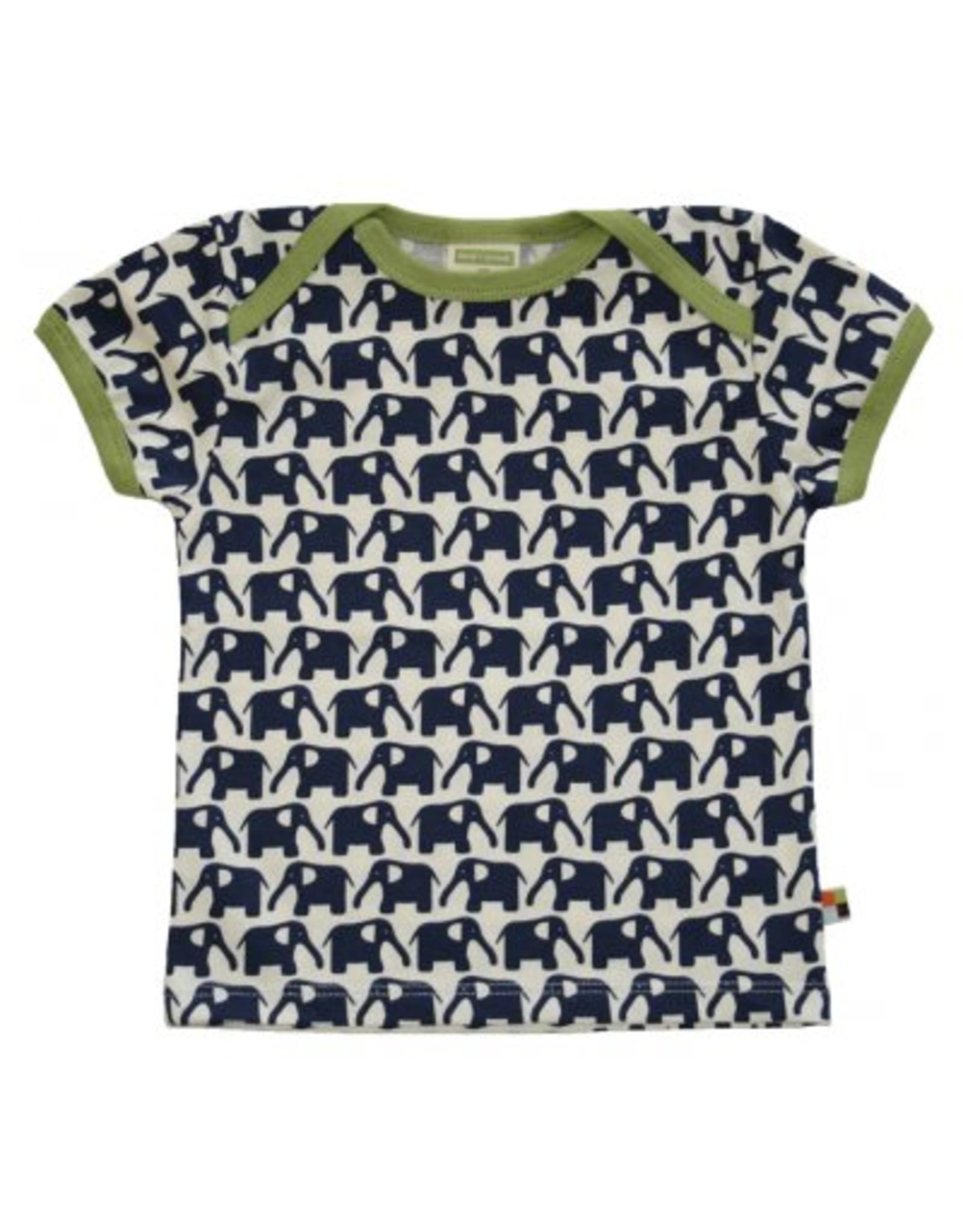 loud+proud Kinder t-shirt - donkerblauwe olifanten