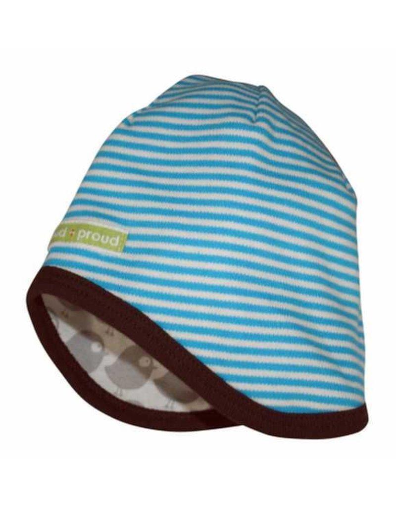 loud+proud Children's summerhat - blue with birds - reversible