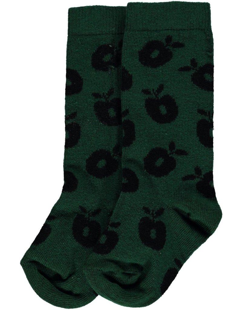 Smafolk Children's socks - dark green apples