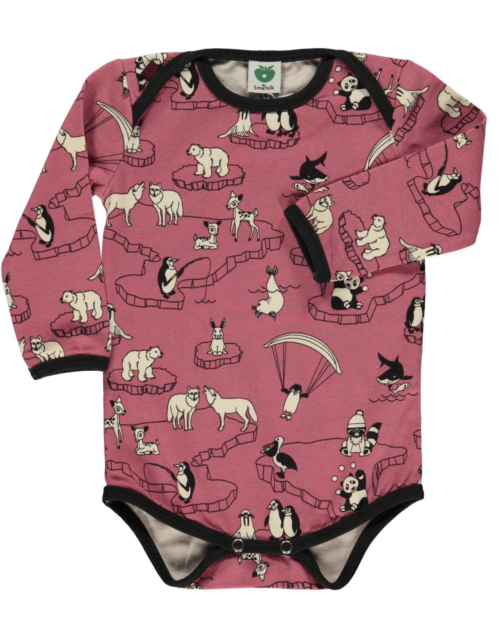 Smafolk Baby romper - pink polar animals