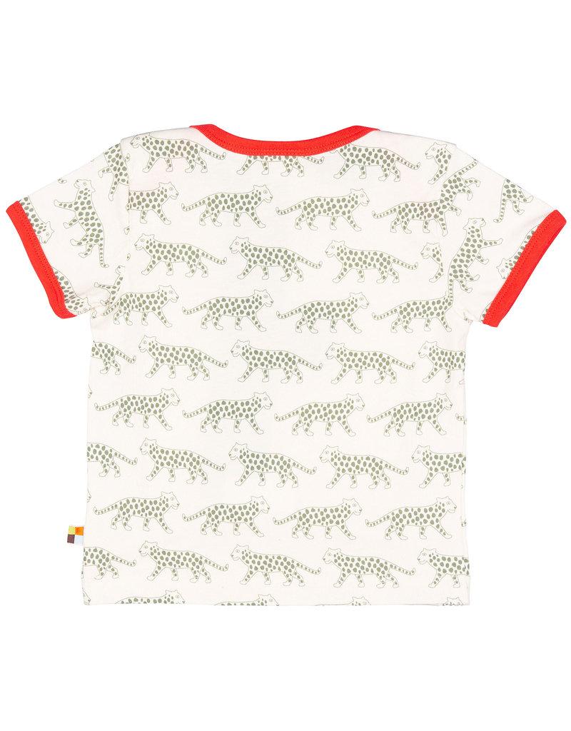 loud+proud Kids t-shirt - olive leopards