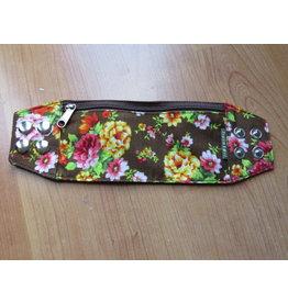 Huisteil Polsband - bruin bloemen