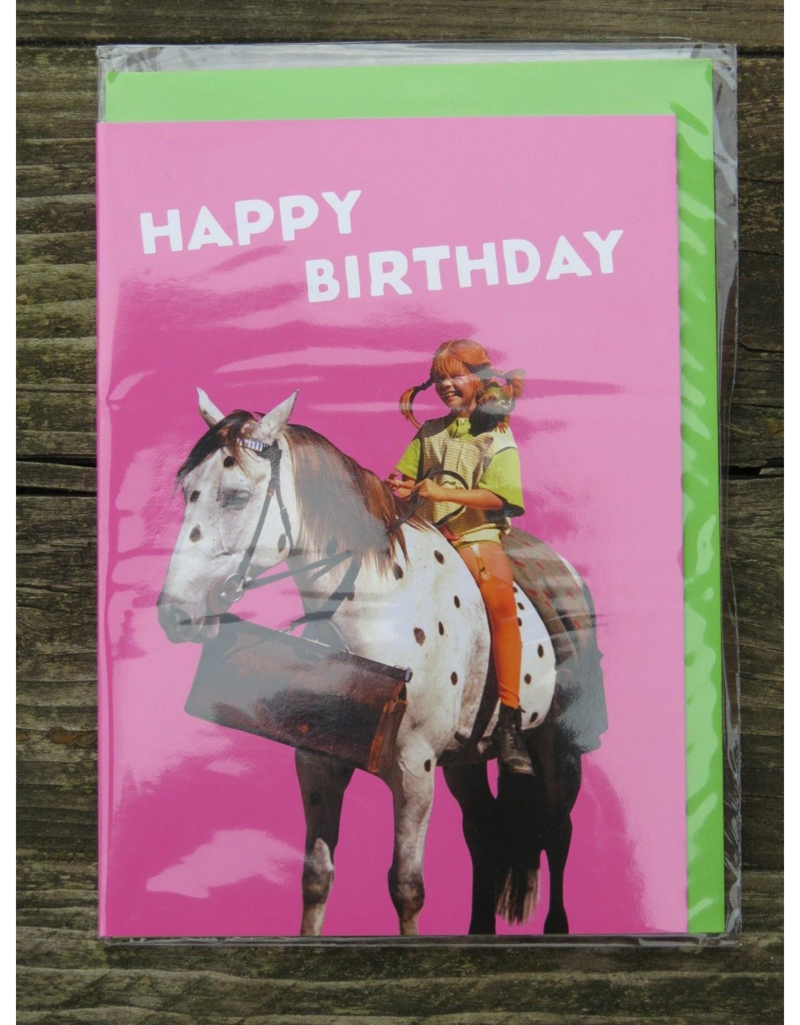 Pippi Langkous Pippi Langkous verjaardagskaart met envelop - witje