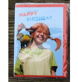 Pippi Langkous Pippi Longstocking birthday card with envelope - Mr. Nilsson