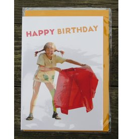Pippi Langkous Pippi Longstocking birthday card with envelope - olé