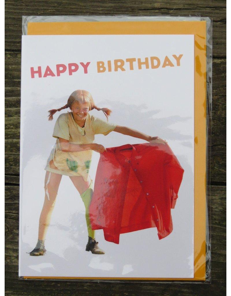 Pippi Langkous Pippi Longstocking birthday card with envelope - olé
