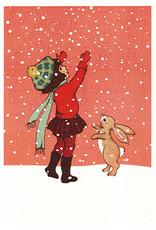 Belle & Boo kerstkaart - Sneeuwvlokken vangen
