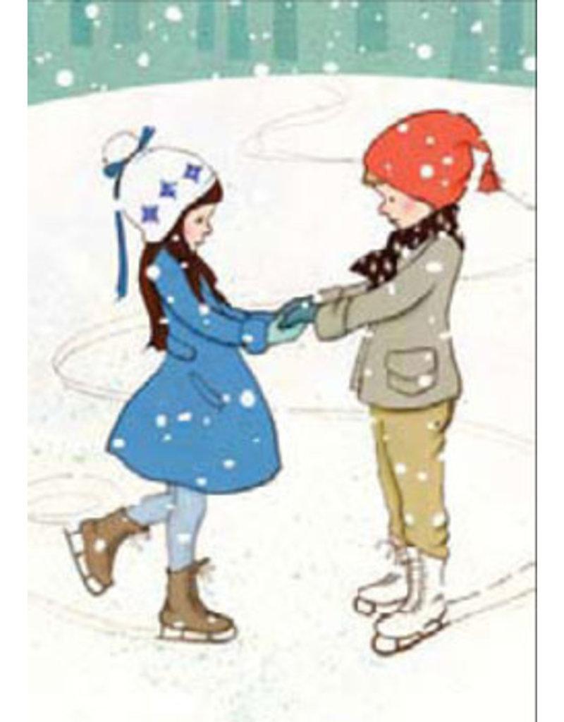 Belle & Boo kerstkaart - Samen schaatsen