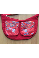 Huisteil Shoulderbag with pockets - red flower