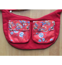 Huisteil Shoulderbag with pockets - red flower
