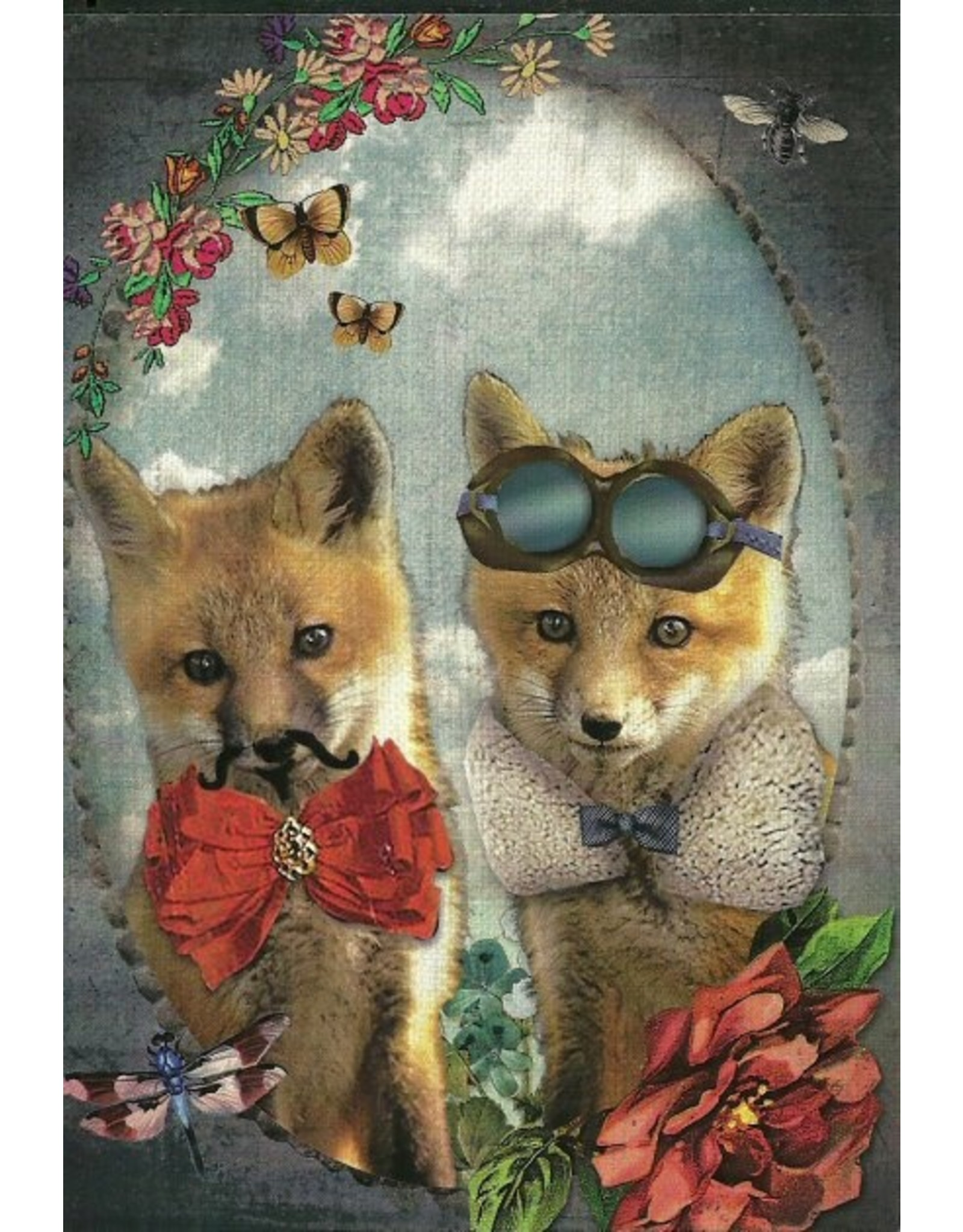 Postcard - two foxes