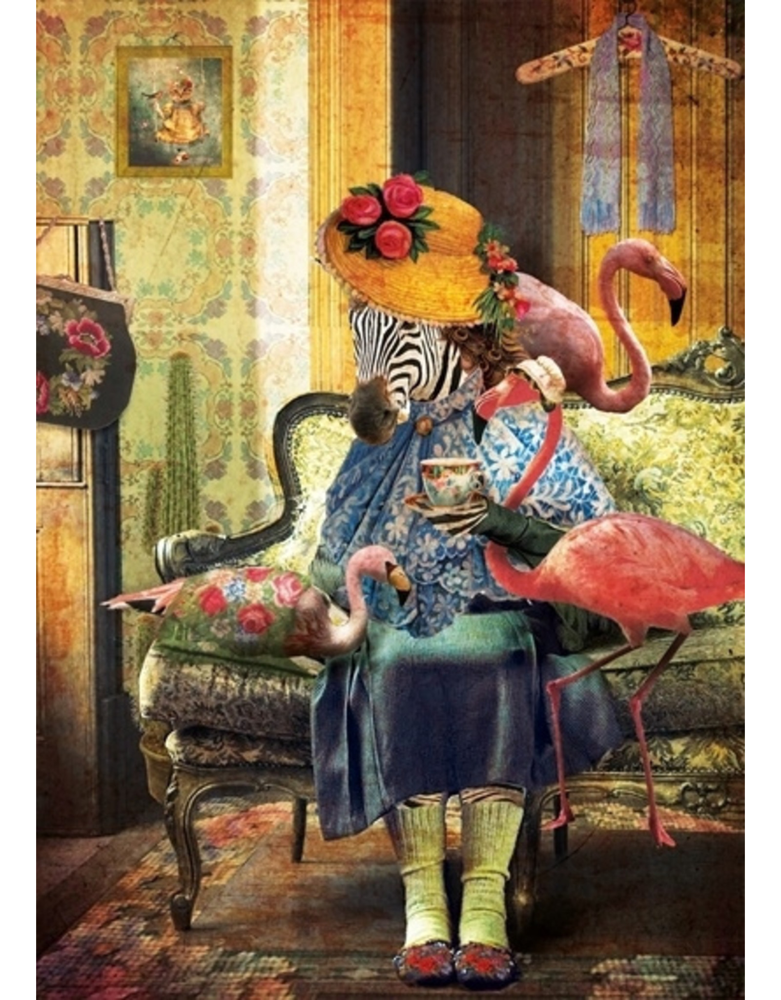 Postcard - flamingo lady