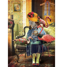 Postcard - flamingo lady