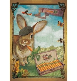 Postcard - konijn fume une wortel