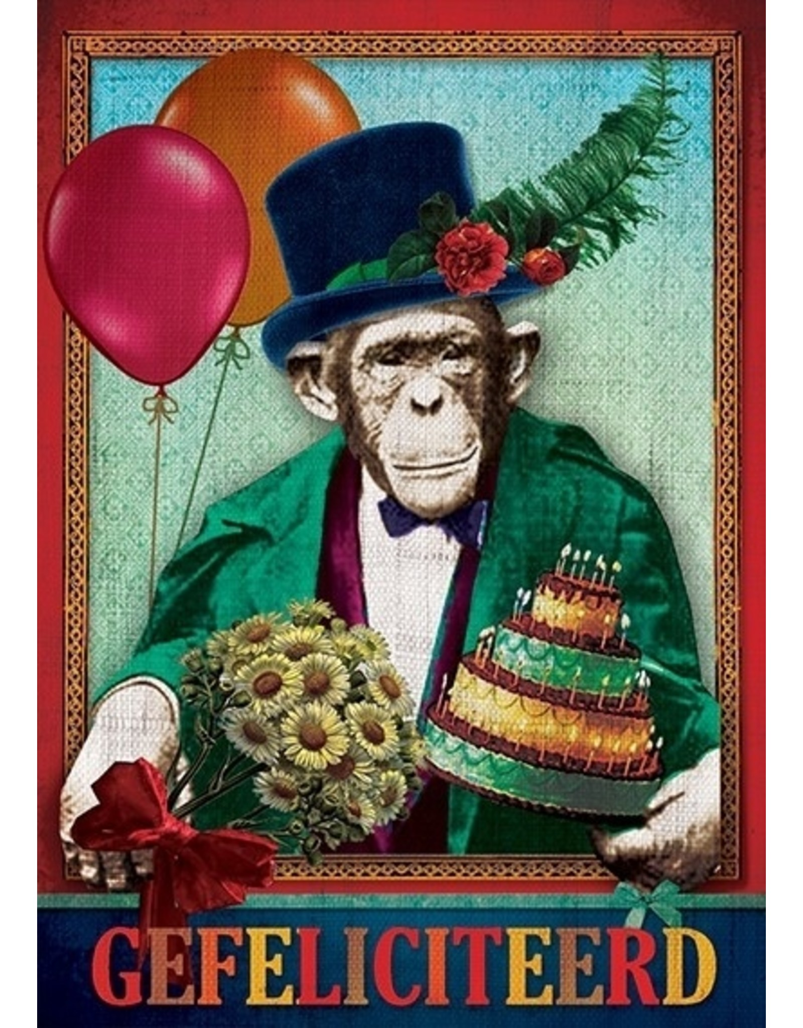 Postcard - congratulations monkey