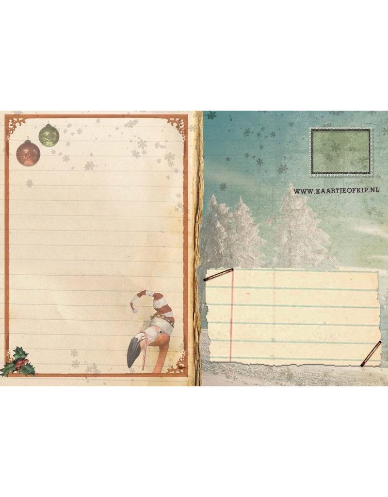 Christmas card - flamingo