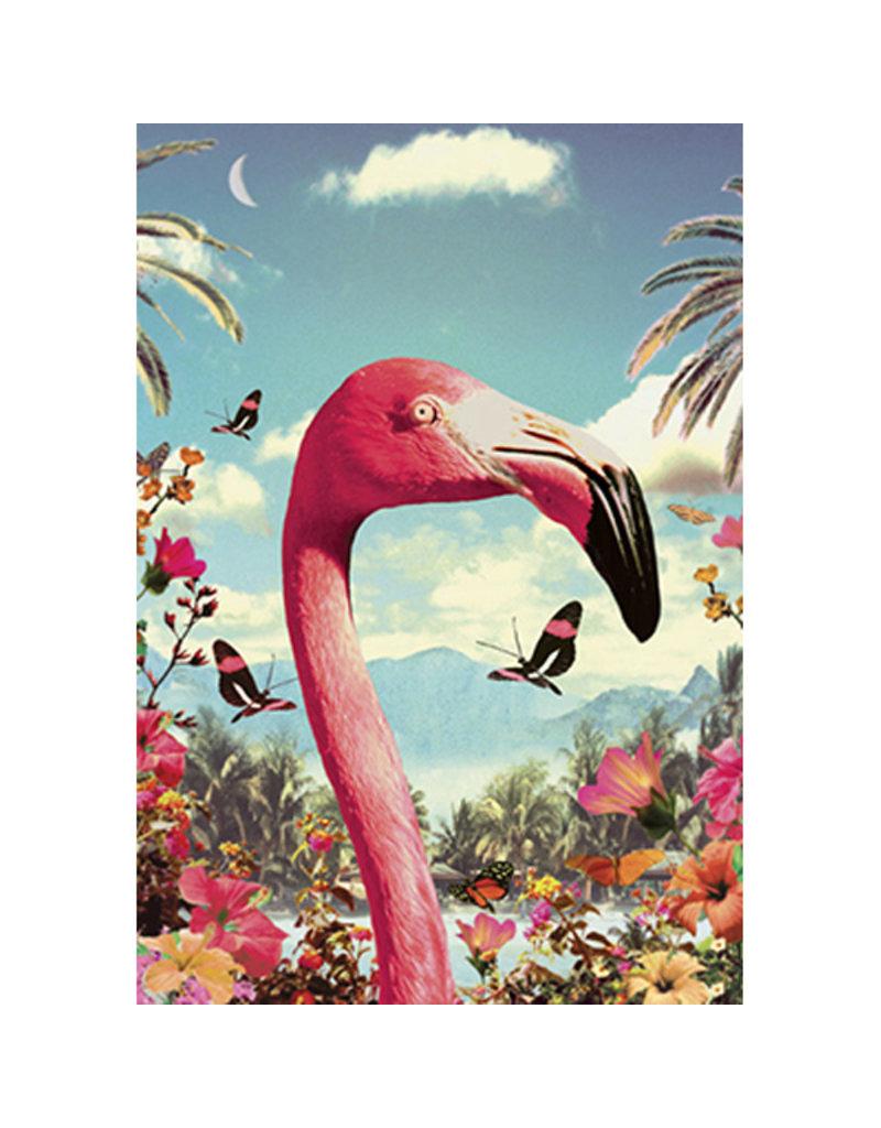 Postcard - Flamingo in the garden