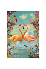Ansichtkaart - Flamingo in love