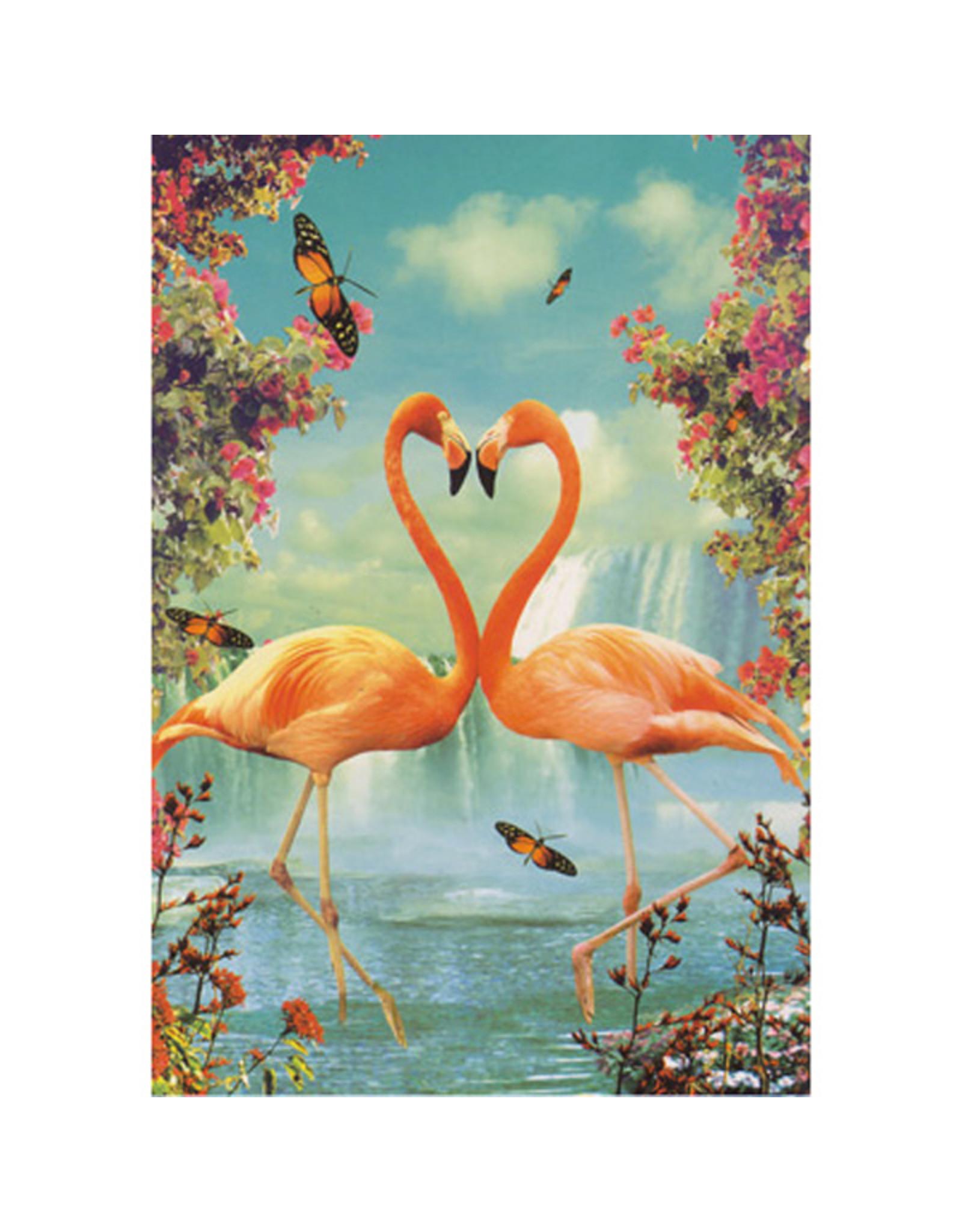 Postcard - Flamingo in love