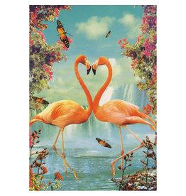 Ansichtkaart - Flamingo in love