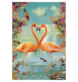 Postcard - Flamingo in love