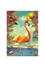 Postcard - Flamingos in moonlight