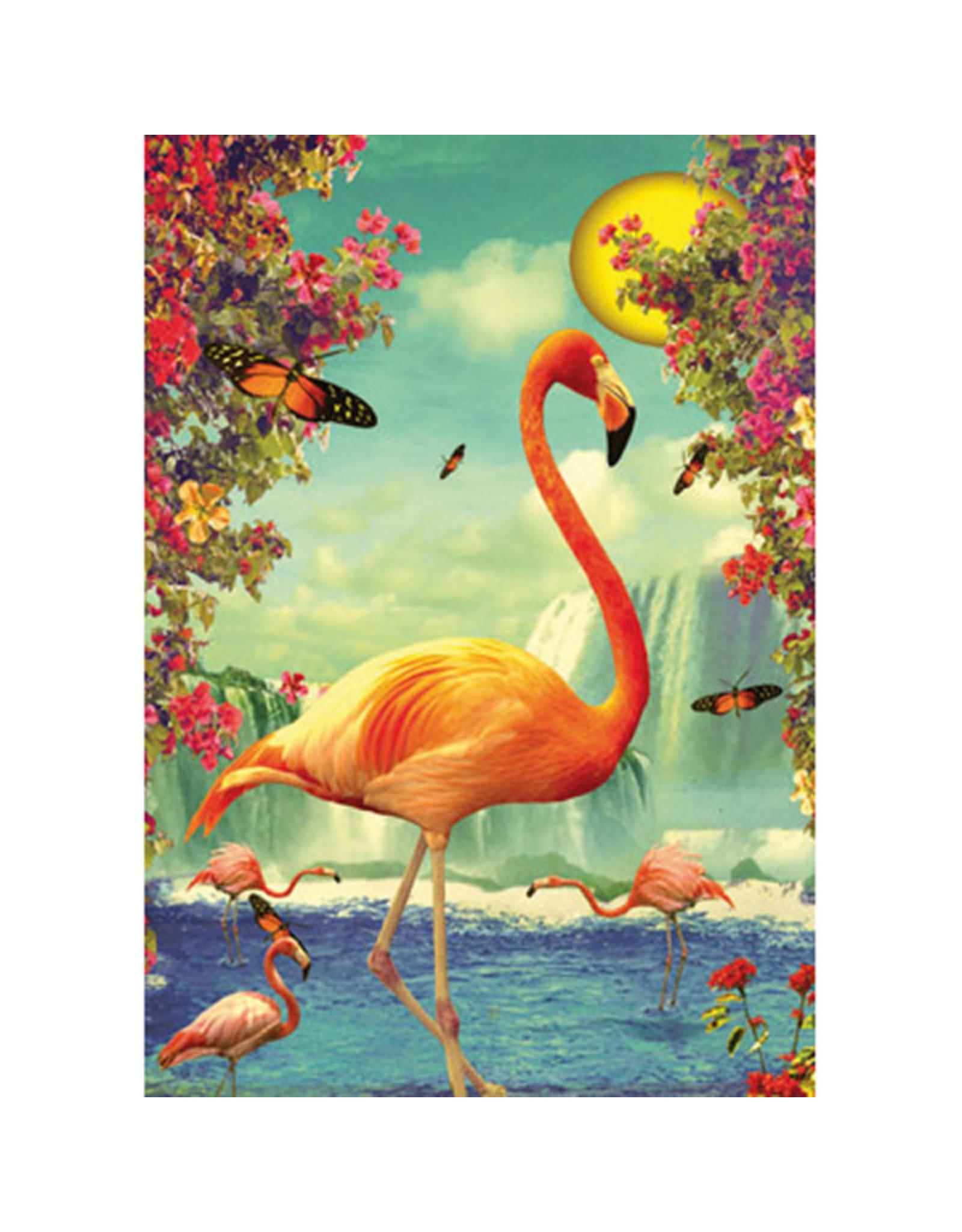 Ansichtkaart - Flamingo's in maanlicht