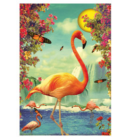 Postcard - Flamingos in moonlight