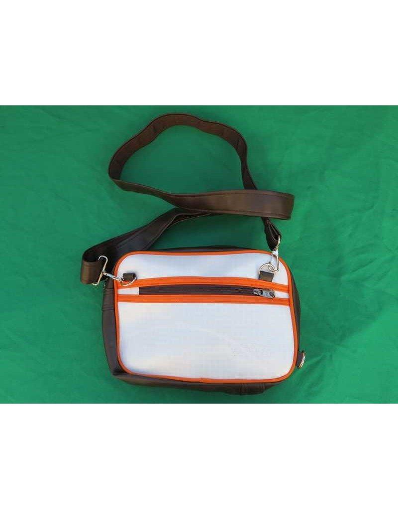 70s up kleine schoudertas - bruin/wit
