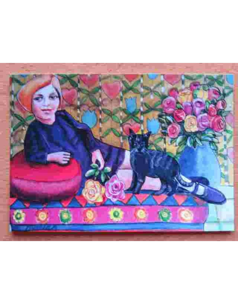 Kunst kaart - Meisje met bloemen