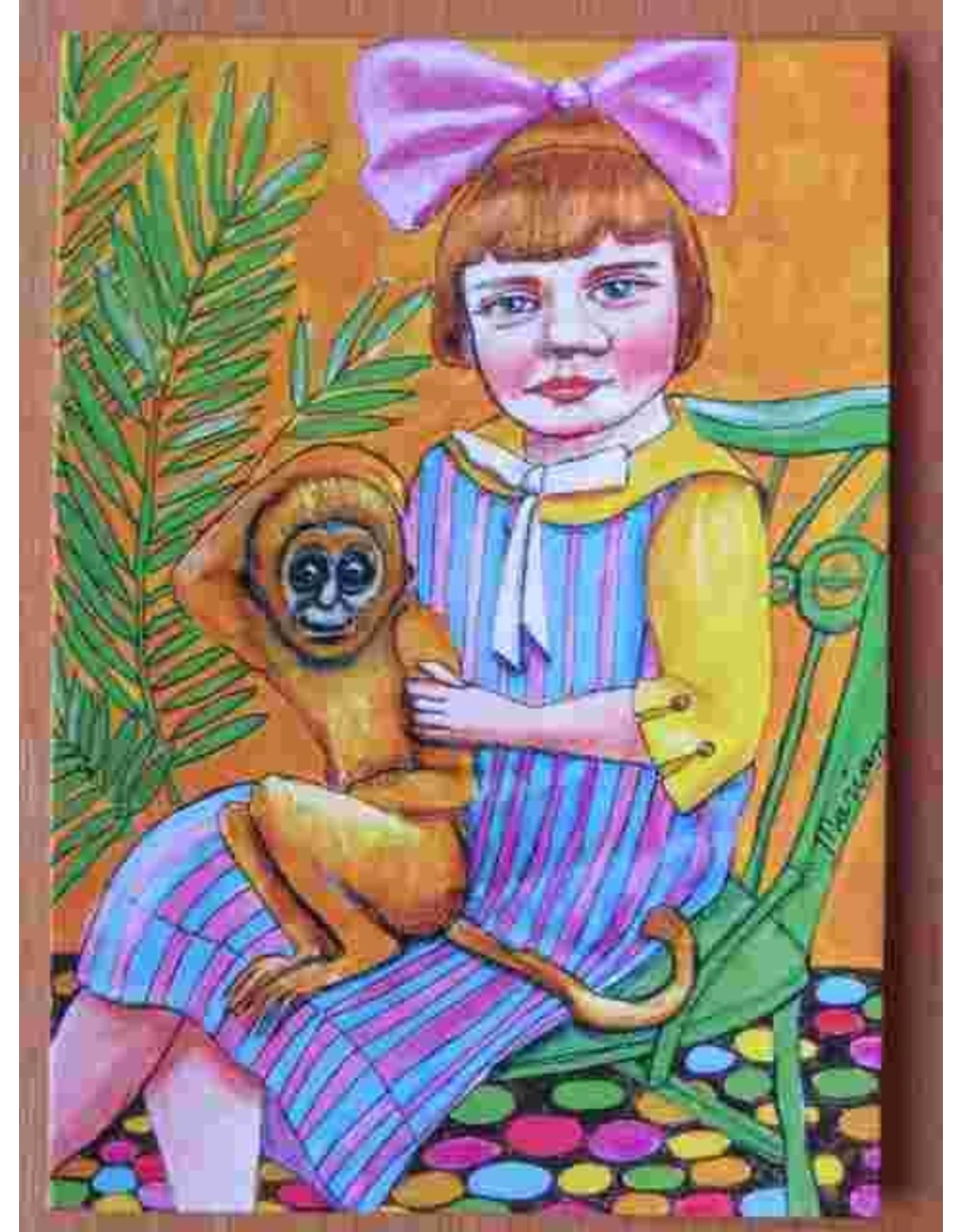 Kunst kaart - Meisje met aapje
