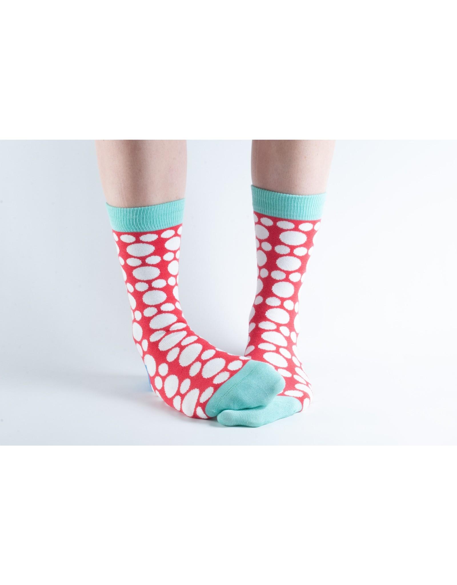 Doris & Dude Sokken - rood met stippen (36-40)