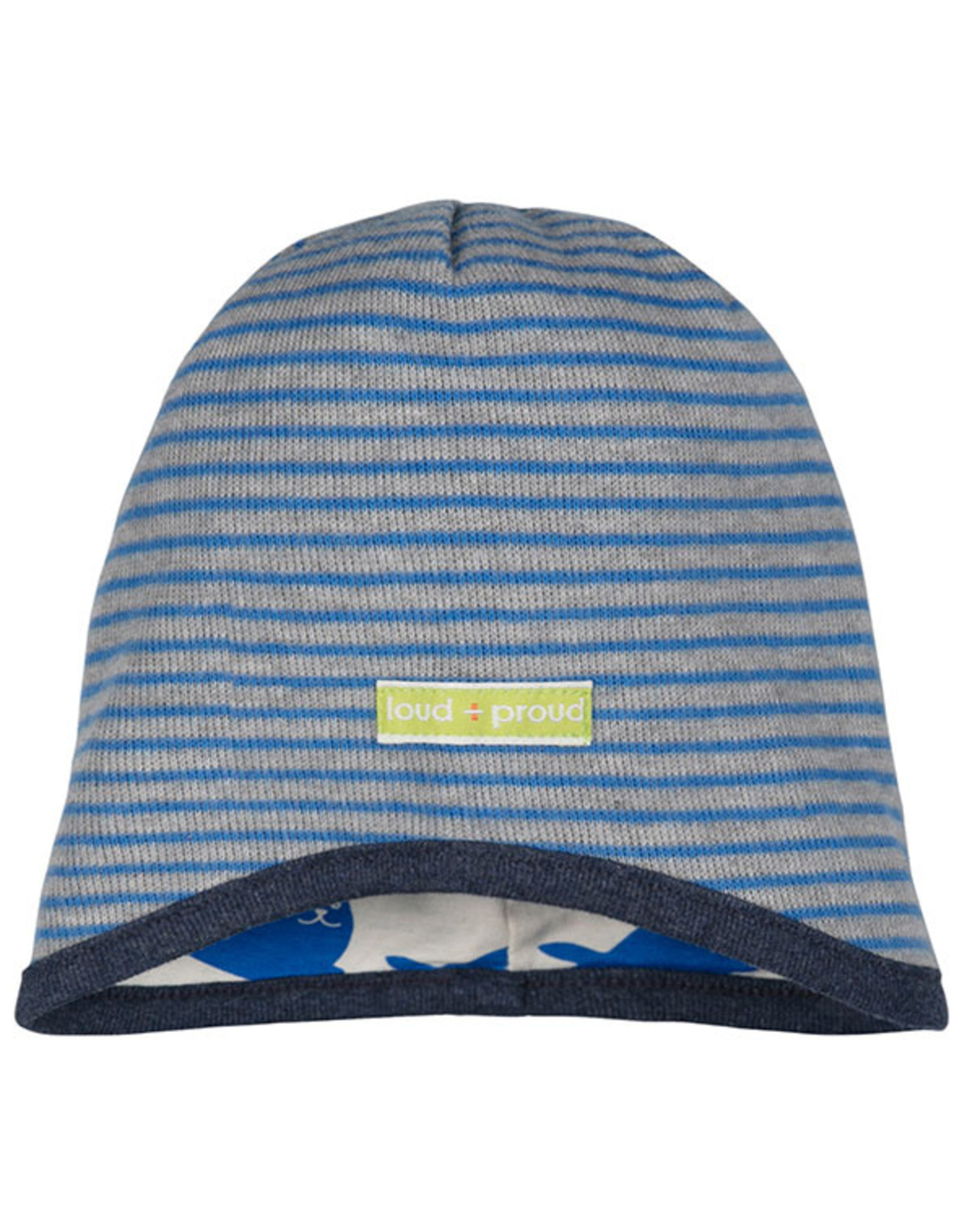 loud+proud Children's hat - grey blue with seals
