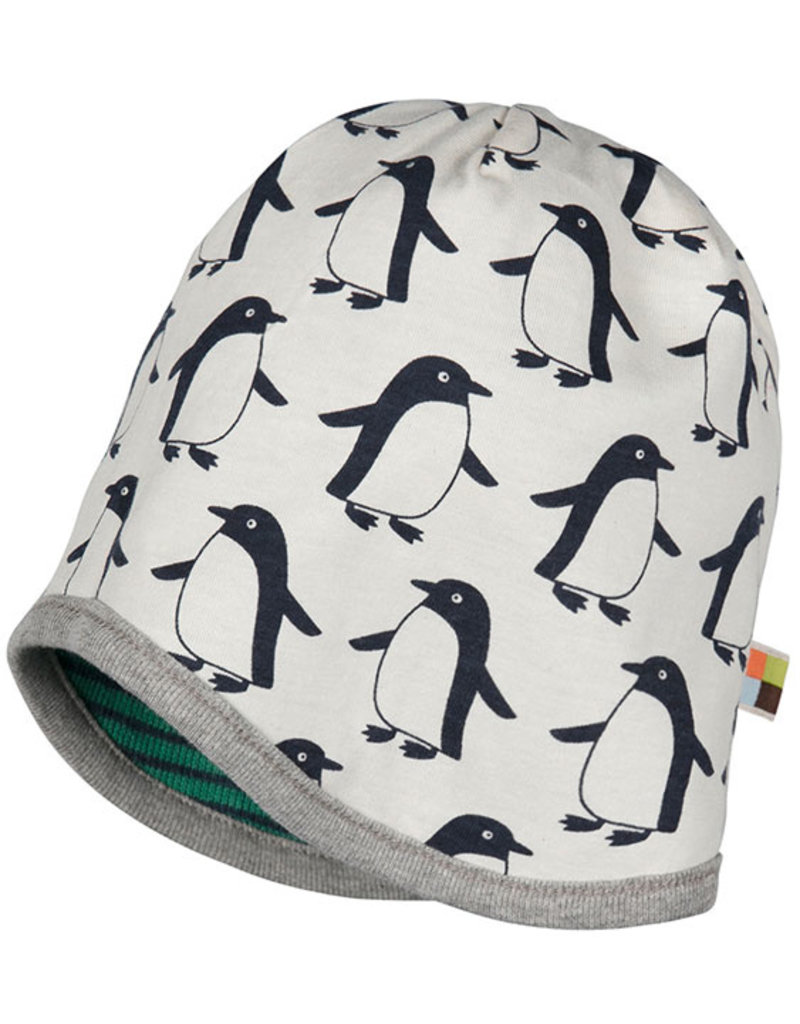 loud+proud Kinder mutsje - groen met pinguins