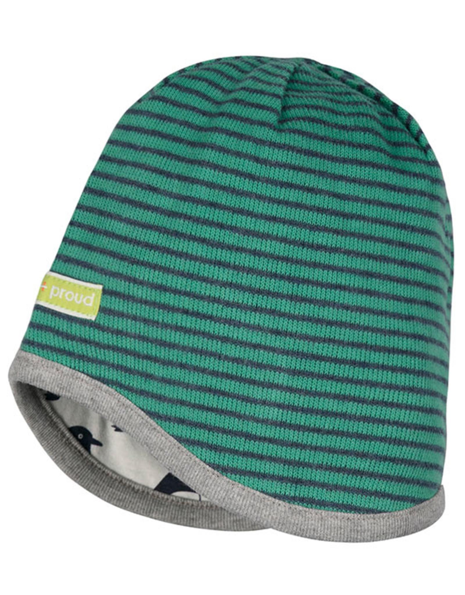 loud+proud Children's hat - green with penguins