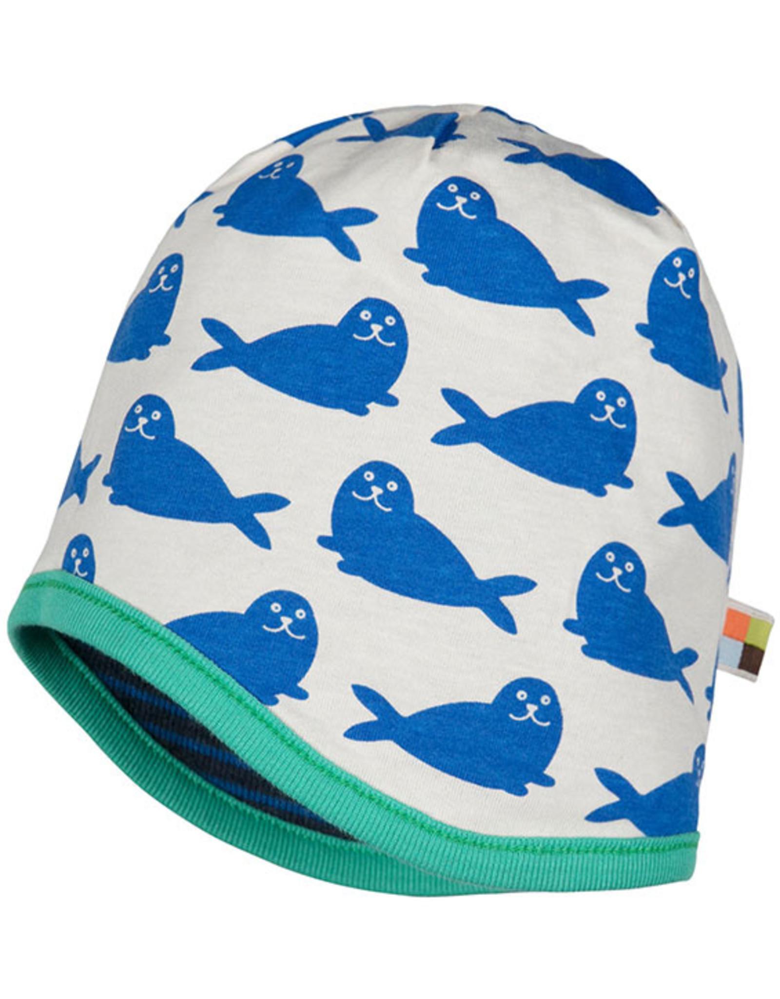 loud+proud Kinder mutsje - donkerblauw met zeehonden