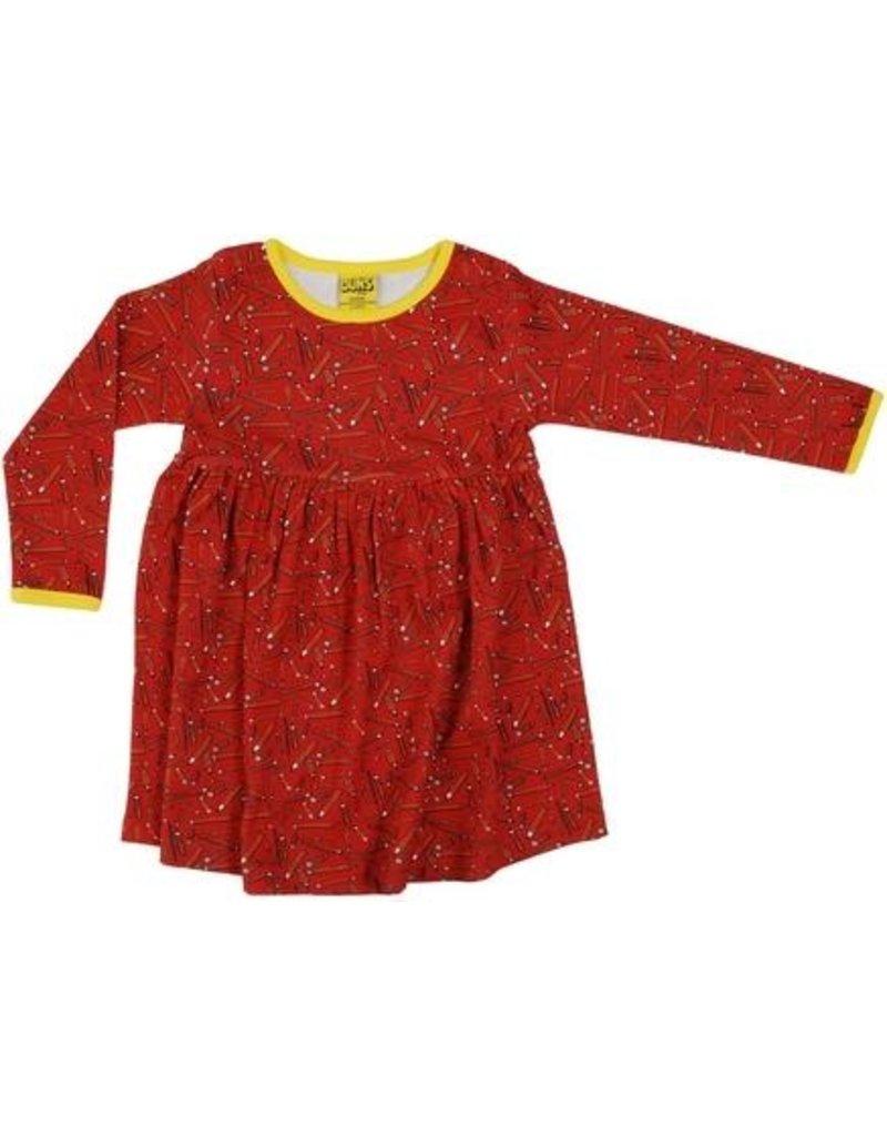 Duns Children's gather dress - red pencils