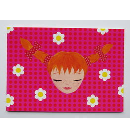 Pippi Langkous Pippi Longstocking card - nice and pink