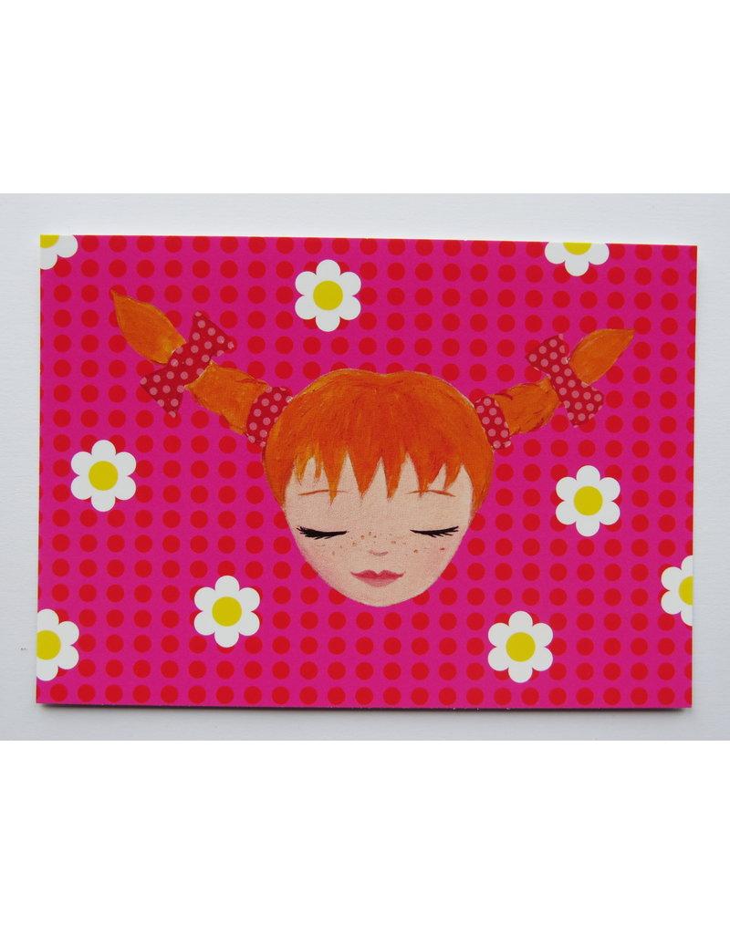 Pippi Langkous Pippi Longstocking card - nice and pink