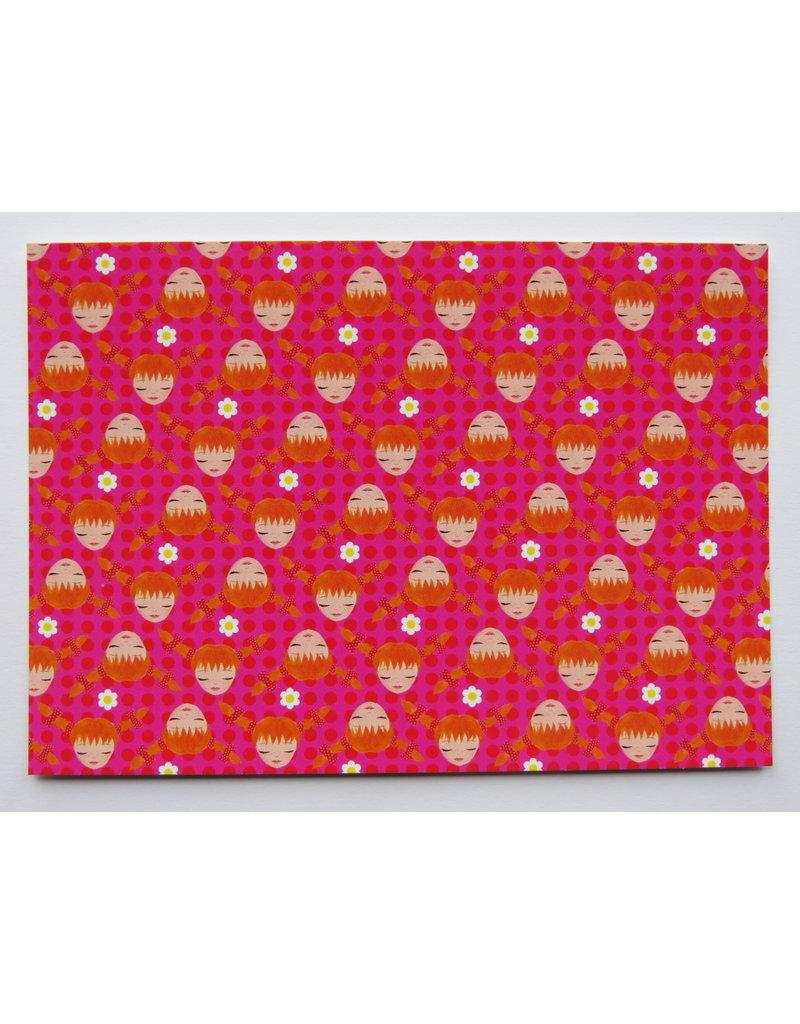 Pippi Langkous Pippi Langkous kaart - roze!