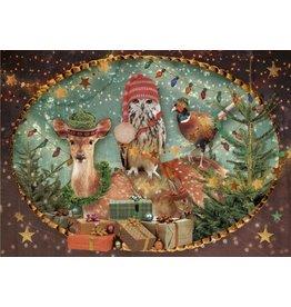 Kerstkaart - kerstgezelschap