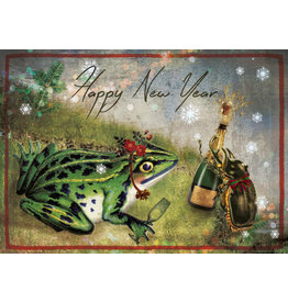 Kerstkaart - kikkers nieuwjaar
