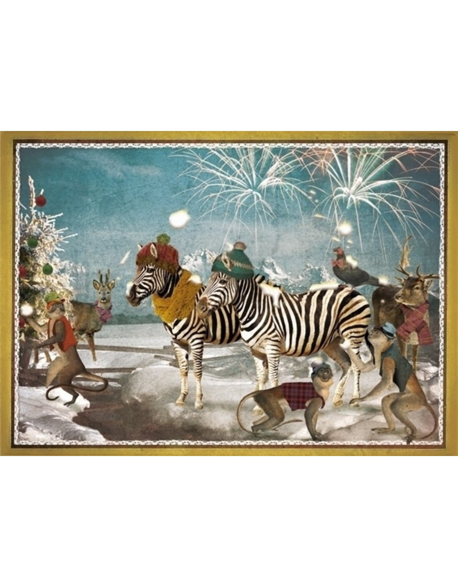 Christmas card - zebra feestje